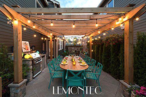Lemontec Commercial Grade Outdoor Lichterketten mit 15 hängenden Fassungen – 48 ft schwarz wetterfeste Schnur wetterfeste Litze für Patio Garden Porch Hinterhof Party Deck Yard – S14 schwarz