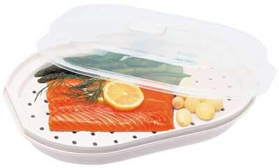 MiracleWare Microwave Fish & Vegetable Steamer with Cover: Dorm Meal, Meal Cooking, Microwave Meals, Cooking Steamer, Microwavable Fish, Kitchen, Veggie Steamer, International Microwavable, Progressive International