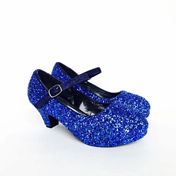 Toddler Glitter Shoes Blue Toddler Girls Heel Royal