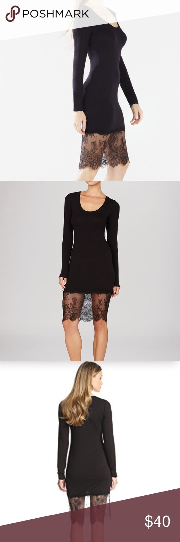 BCBG Max Azria Livi Lace-Hem dress A versatile long-sleeve dress you can pair with your fave booties for a carefree look with endless trend-setting appeal. BCBGMaxAzria Dresses Long Sleeve