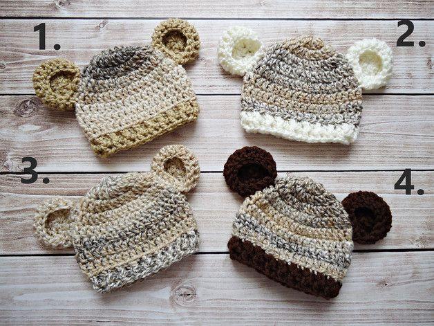 Czapka z uszami - CudaWianki-Anna - Czapeczki dla niemowląt