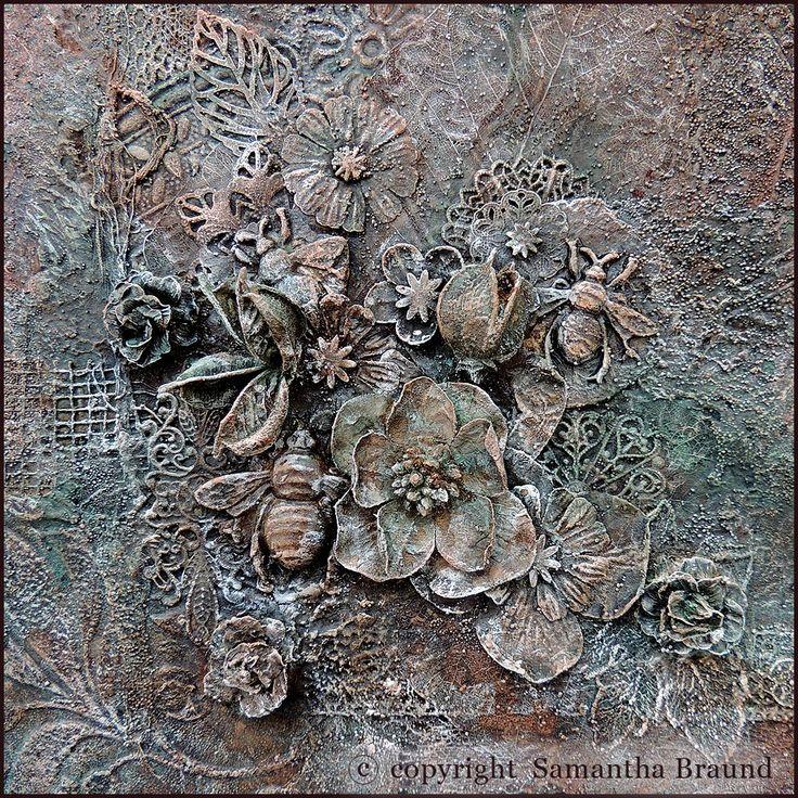 Samantha Braund Arts: Frosty Midnight Garden Canvas - Powertex Mixed Media
