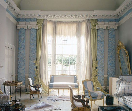 Pauline de Rothschild's Curtains : Architectural Digest: Blue Rooms, Drawings Rooms, Country Houses, Home Interiors, Window Shades, Houses Style, John Fowler, English Country, De Rothschild
