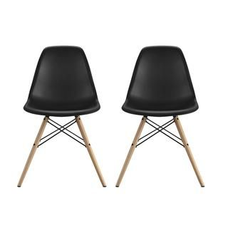 Shop for DHP Mid Century Modern Molded Black Chair with Wood Leg (Set of 2). Get free shipping at Overstock.com - Your Online Furniture Outlet Store! Get 5% in rewards with Club O!