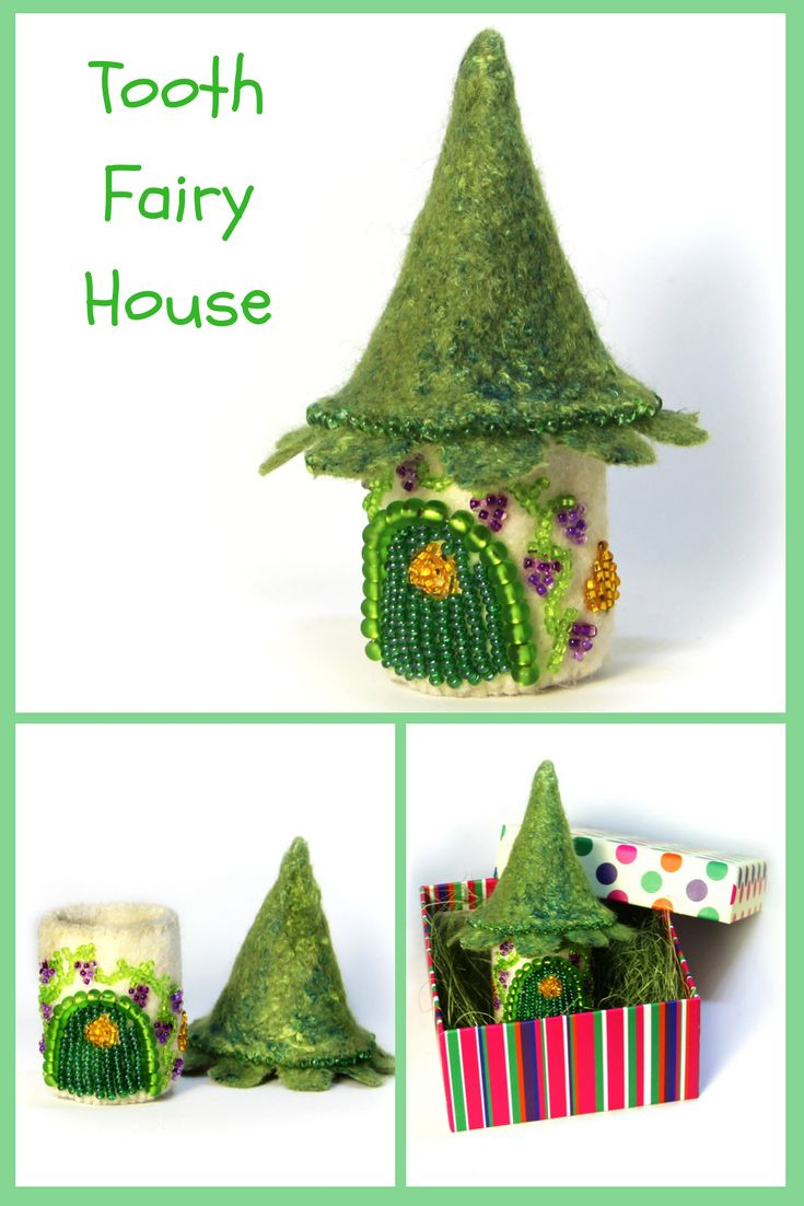 In this little fairy house lives the Tooth Fairy. Let your child put his tooth into this house and at night the Tooth Fairy will bring him money or a small gift for the tooth. Depending, of course, on the agreement that parents will make with the Tooth Fairy!  The height of the fairy house is 4 inches (11 sm). #fairyhouse #stpatricksday #green #giftforher