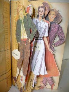 Sandra Pearce: Altered Book Project. Old pattern and catalog images used as page tabs.