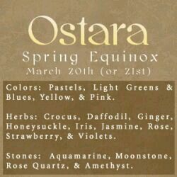 Ostara, Spring Equinox Color, herb, and Crystal Correspondences - Pinned by The Mystic's Emporium on Etsy