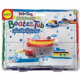 Magnetic Boats in the Tub $14.97 Each toy boat from this bath play set has a magnetic connector, perfect for linking all the boats to make a floating train right in the tub! http://www.educationaltoysplanet.com/magnetic-boats-in-the-tub.html