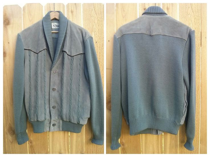 Excited to share the latest addition to my #etsy shop: 1970s Hi Gear Blue Gray Western Wear Cable Knit Sweater Bomber Long Sleeve Jacket - Genuine Leather Cow Split Front - Size L http://etsy.me/2COe5Nr #clothing #men #jacket #gray #blue #l #cableknit #western #sweater