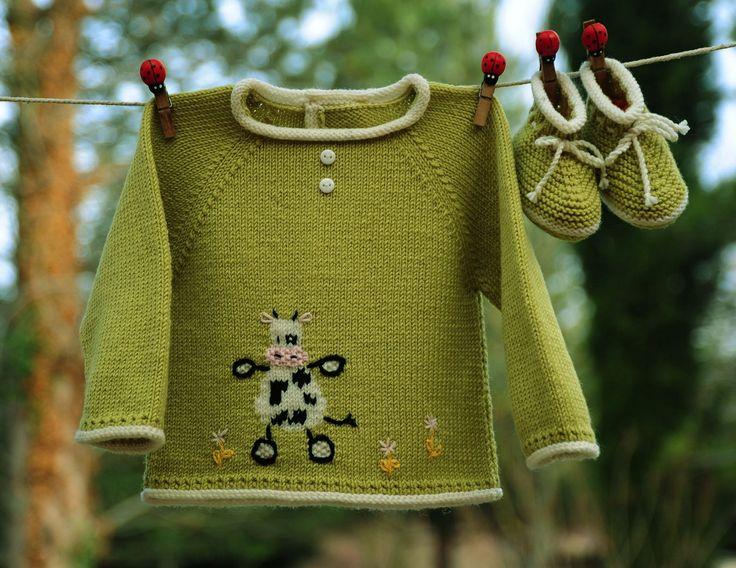 layette ensemble vache 1-3 mois en mérinos brassière et chaussons tricoté main