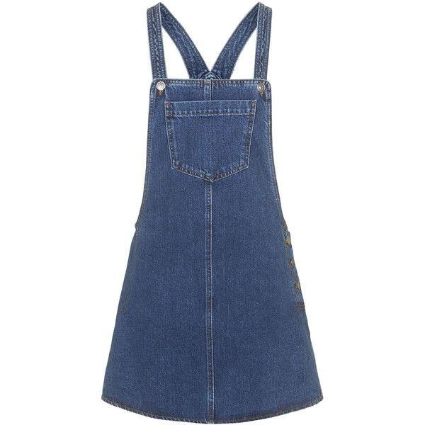 TOPSHOP MOTO Denim Pocket Pinafore Dress ($30) ❤ liked on Polyvore featuring dresses, topshop, denim, overalls, mid stone, denim pinafore dress, pocket dress, pinafore dress, blue dress and structured dress