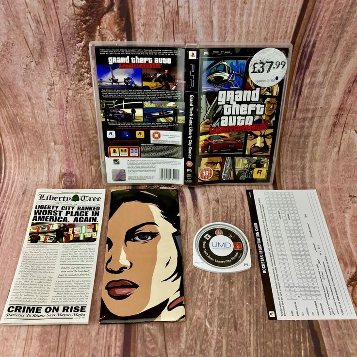 Grand Theft Auto GTA Liberty City Stories Sony PSP Complete With Unused Map 🎁