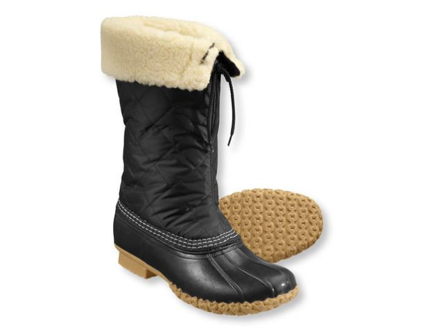 "A Definitive List of the Best Winter Boots: ""Quilted L.L. Bean Boot (on sale for $60). Here's why the quilted Bean Boot beats the classic; slip-on! These boots have the same awesome traction soles as the original duck boots, they're water resistant (water proof at the bottom) and lined with toasty warm fake (vegan!) shearling, but the real killer is that you just slide your feet in and out of them. The last thing I want to do when I come in from the cold is to fuss with wet, snowy laces."""