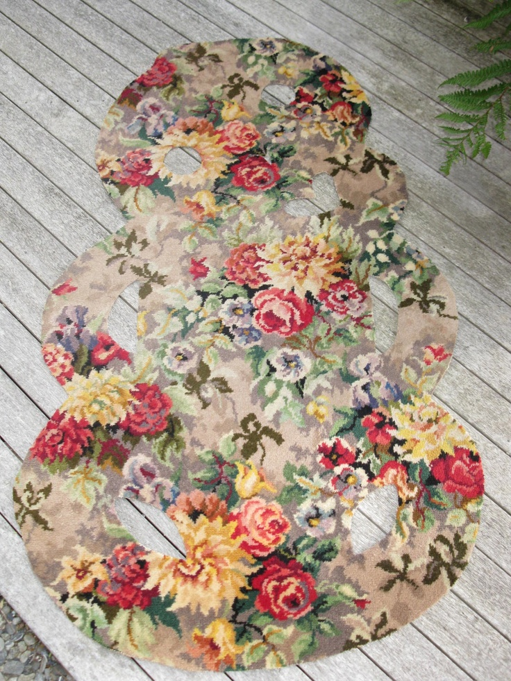 upcyled axminster carpet makes a cool  retro floral welcome tiki mat. made in wellington, selling on trademe.co.nz