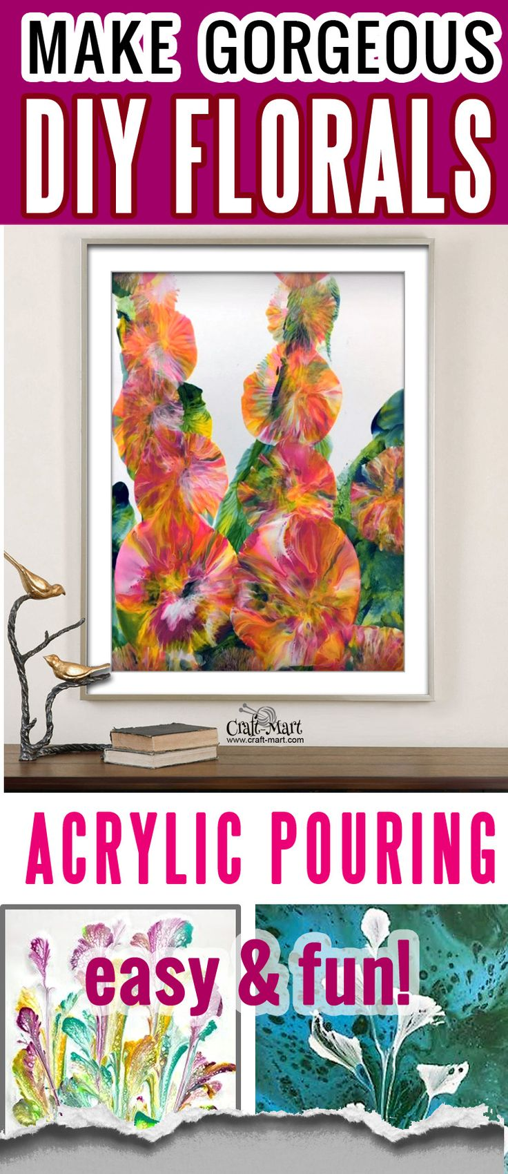 Make gorgeous DIY florals with acrylic pouring – easy and fun