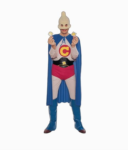 Men's Captain Condom Costume - Ensure your friends have a safe Halloween with this hilarious Captain Condom outfit. This costume includes a shirt, leggings, briefs, belt, boot covers, cape and mask. The tan-coloured long sleeved shirt fastens close with Velcro around the back of the collar. It has a C emblem on the chest. The tan tights are made of stretchy material for a snug fit and have an elasticized waist band. #scifi #yyc #costume