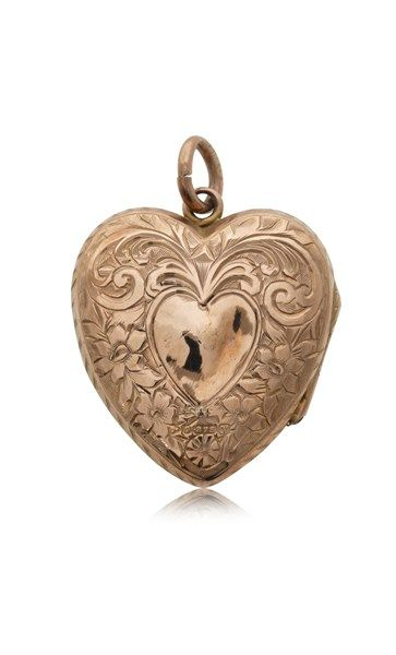Vintage 9ct rose gold engraved heart locket