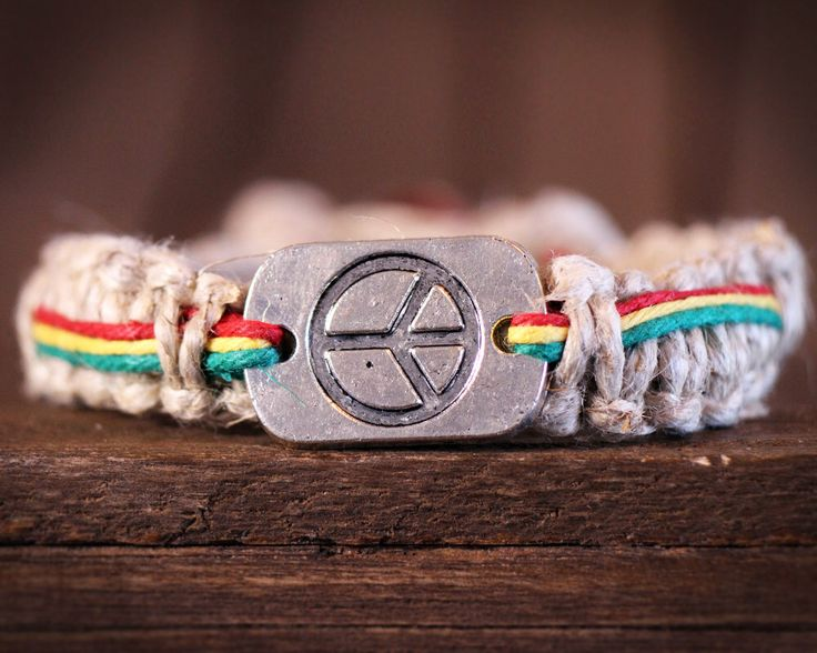 Rasta Hemp Bracelet. Thick Hemp Bracelet. Peace Bracelet. Mens Hemp Bracelet. Hemp Jewelry by HempBeadery on Etsy https://www.etsy.com/listing/171428195/rasta-hemp-bracelet-thick-hemp-bracelet