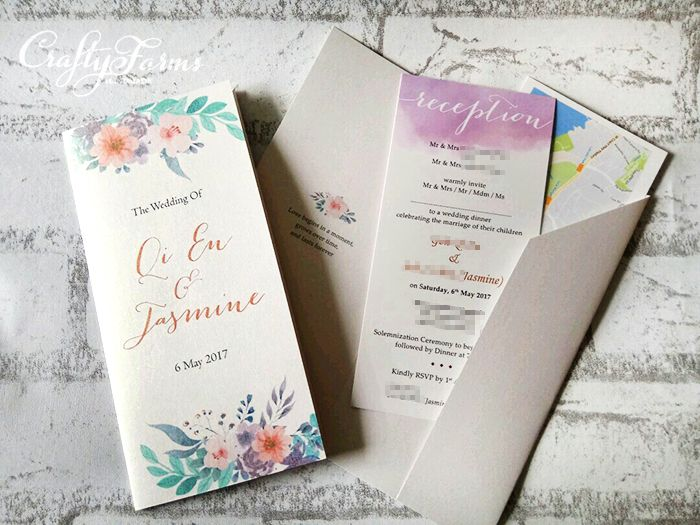 Lavender Purple Floral Pocket invitation cards
