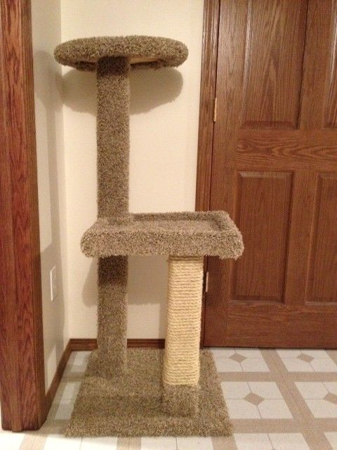 homemade cat tower. Carpet remnants, 2x4's, twine and some plywood. Cat envy anyone?