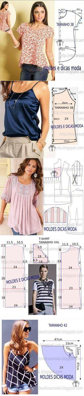 Los patrones veraniego topov, las blusas y los vestidos