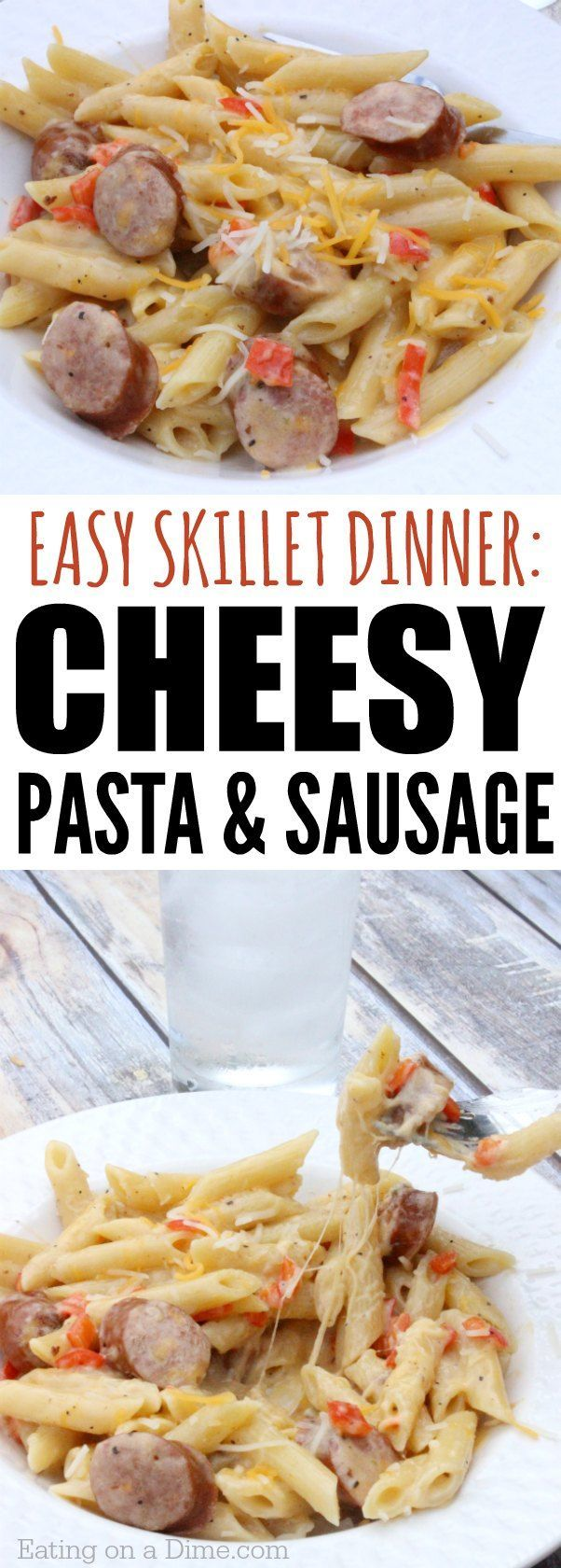 Looking for one pot meals? Try this Cheesy Pasta and Sausage Skillet Dinner recipe. It is so easy and delicious. Perfect for a busy night.