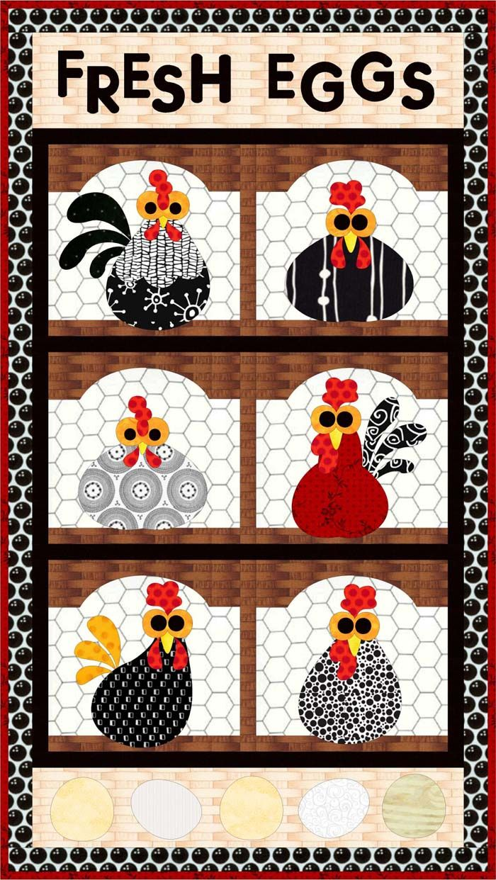Fresh Eggs Quilt Pattern FCP-033 (advanced beginner, wall hanging)   xxxx
