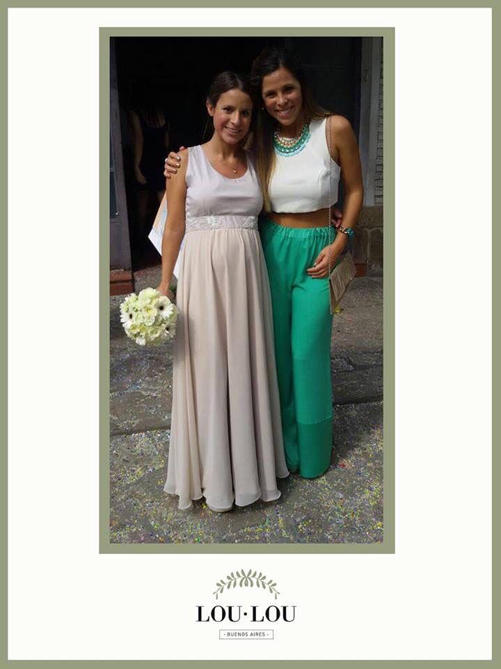 Divina Li con pantalón Lyon en verde y top Limoux en crepe natural!!