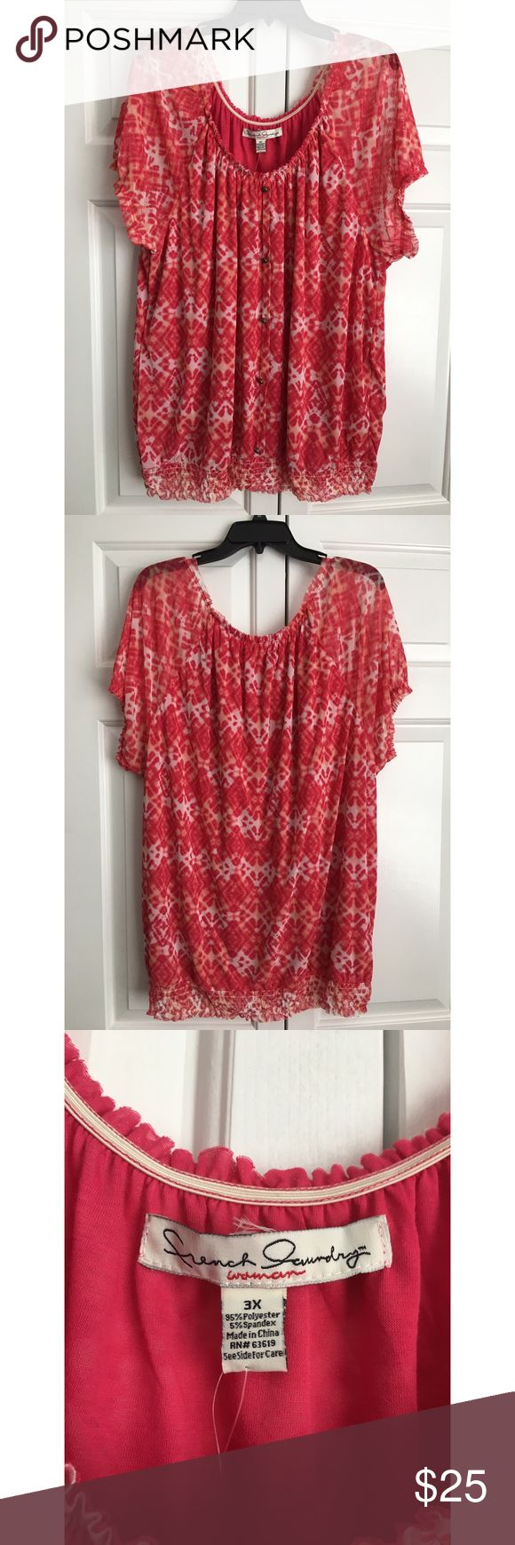 """NWT DEB Peasant Short Sleeve Blouse// Size 3X Brand new with tags, French Laundry brand from Deb Shop! Buttons are non-functional and the body is lined, but not the sleeves. Comes from my pet and smoke free home! Pit to pit measures 24"""" flat and total length is 30"""". No trades. Item location: bin 2. Deb Tops Blouses"""