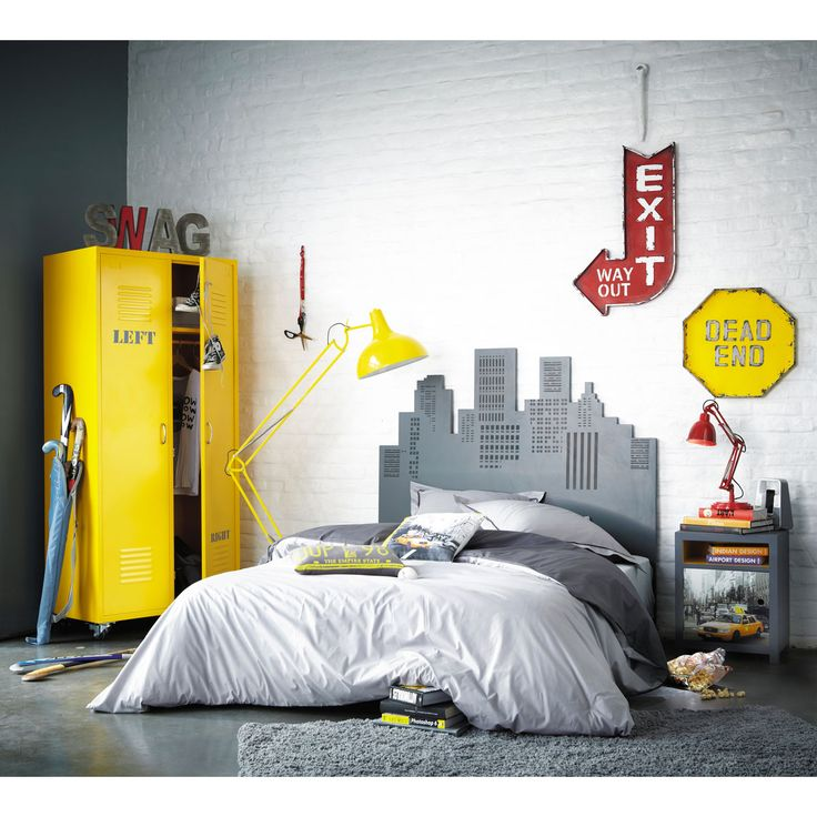 Testata da letto grigia, 140 cm Deco chambre new york