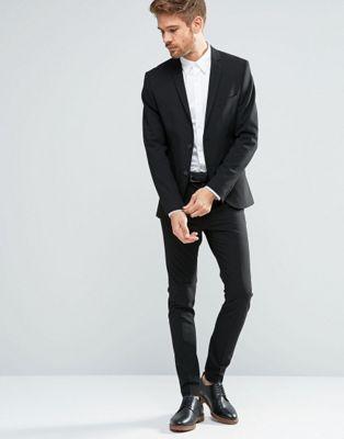 Selected Homme - Costume super cintré en tissu stretch - Noir