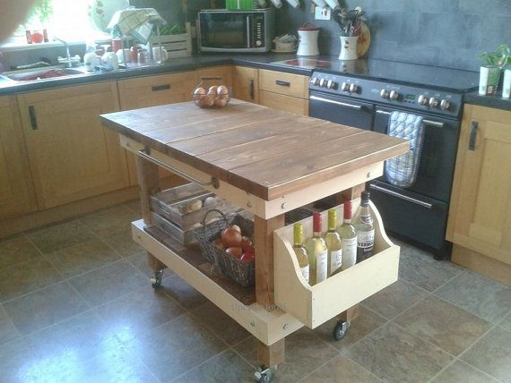 Hand Made Rustic Industrial Farmhouse Butchers Block Style