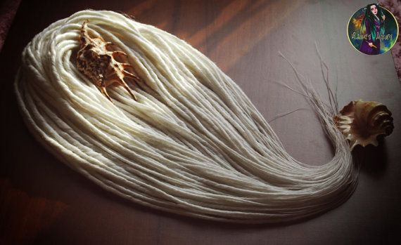70 double Dreadlocks synthétiques terminé blanche neige DE Dreads Dread automne Extensions de cheveux