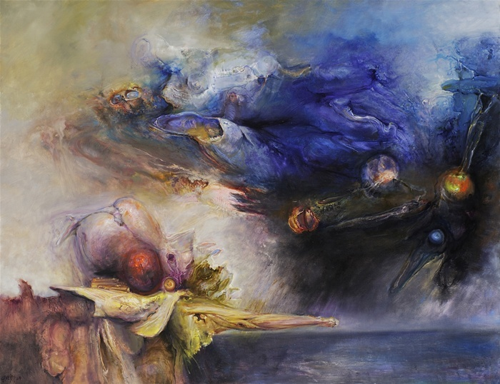 James Gleeson  An Enigmatic Landfall 2004  oil on linen  signed and dated l.l.  138 x 178  cm