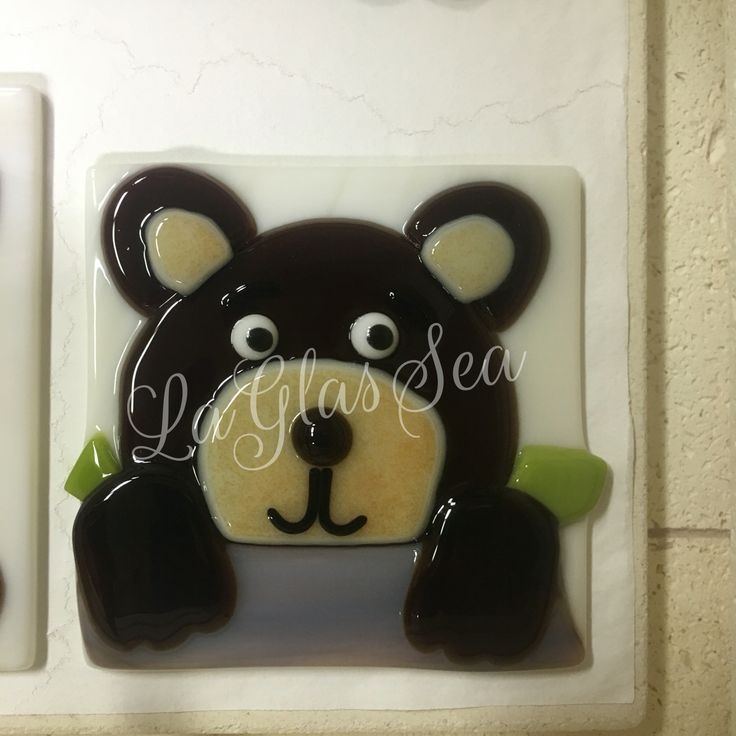 Fused glass bear night light by LaGlasSea