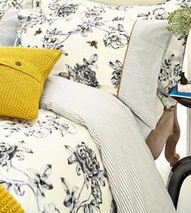 The beautiful 'Imogen' bedding range from Joules features a delicate charcoal and yellow floral and bees design. * Explore the product: http://tidd.ly/11717ca9 * Read the article: http://www.wons.co.uk/design/blog/joules-bedding-collection/