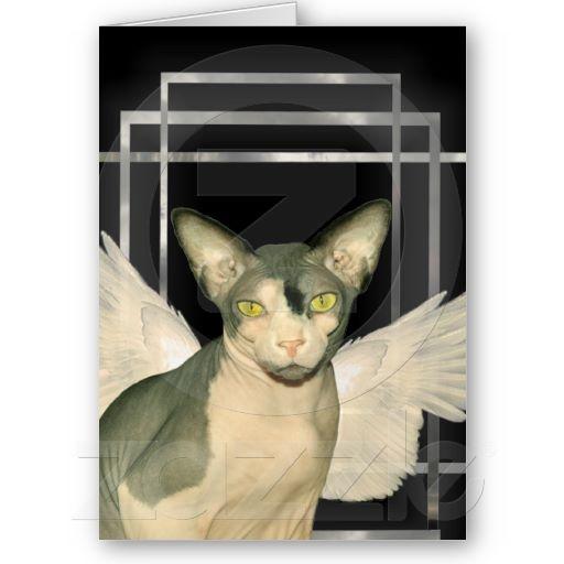 Card | Art Deco Sphynx Angel Cat