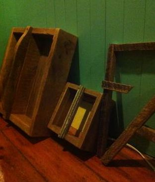 Barn board boxes and letters.