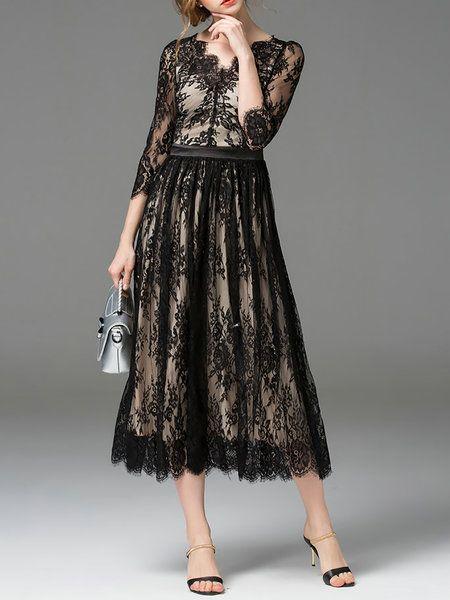 Shop Midi Dresses - Black 3/4 Sleeve Paneled Lace V Neck Midi Dress online. Discover unique designers fashion at StyleWe.com.