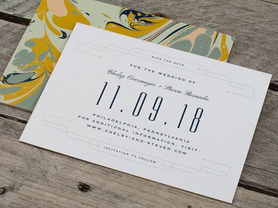 Vintage Marbled Art Moderne Wedding Save the Date Card - Stock Sample, Digital Proof, Personalize Sample, Order Deposit
