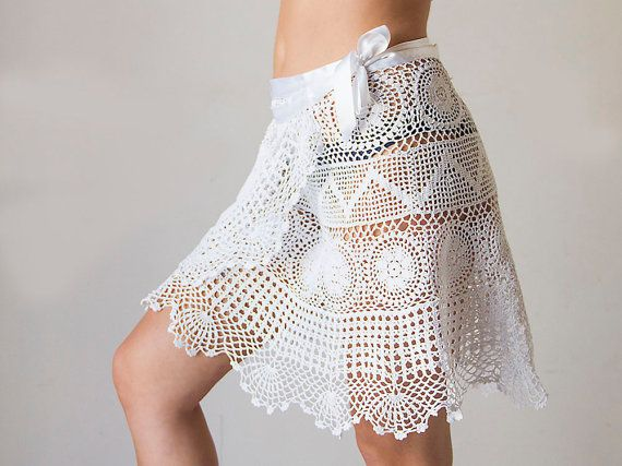 Crochet beach wrap white skirt Upcycled from by katrinshine