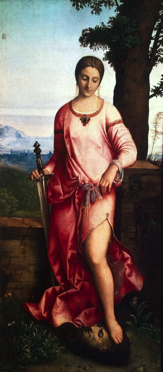 Treasures: giorgione - Judith. 1504. Oil on canvas trasferred from panel. 144 x 68 cm. Hermitage Museum