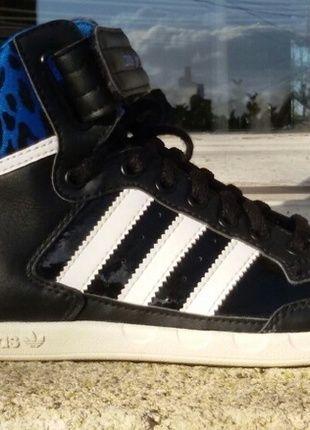 À vendre sur #vintedfrance ! http://www.vinted.fr/chaussures-femmes/baskets/18820086-basket-adidas-montante-bleu-leopard