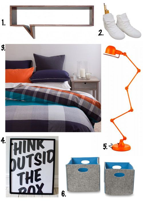 Teenager Boy Room Decor 1. Comic Shelf by Oscar Nunez 2. Pair of Bone China High Top Sneakers by Have You Met Miss Jones 3. Metro Reversible Duvet Cover by Citta Design 4. Think by Thomas Braestrup, available through Scribble 5. GE Angle Desk Lamp in Orange by Zest Products 6. Two Tone Felt Storage boxes by Citta Design