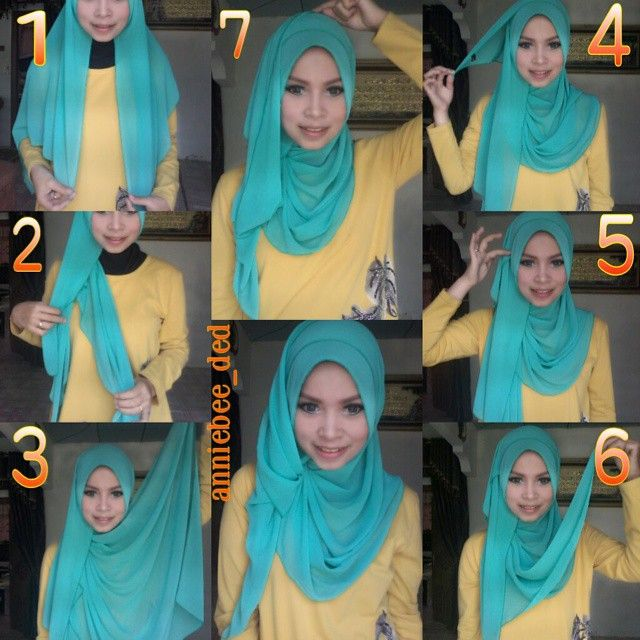 This is a gorgeous hijab look, with a twist touch and a large flowing side for any special occasion or event, the color of the hijab is also beautiful and would swuit a white maxi dress with some teal jewels.…