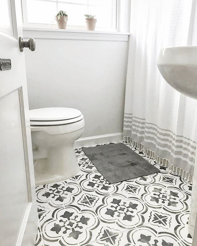 Gorgeous Inexpensive Bathroom Remodel By Tiffinyrae Stenciled Tiled Floors Spa Bathroo Inexpensive Bathroom Remodel Diy Bathroom Remodel Bathrooms Remodel