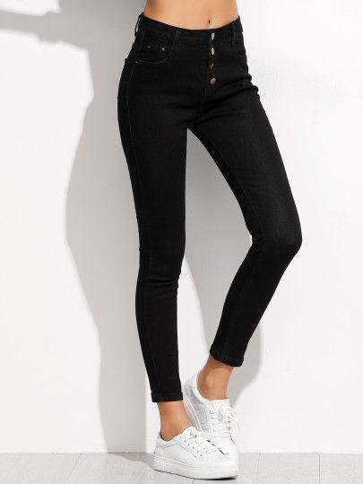 Jeans moulants avec boutons - noir