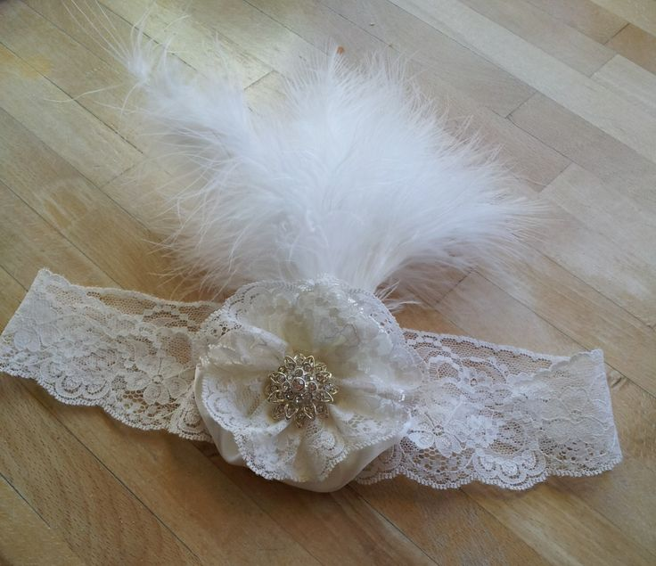 Classic vintage lace headpiece with feather handmade by Beautiful Unique