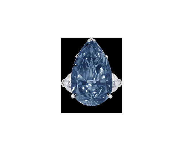 Blue diamonds are one of the rarest colours in nature and at 22.02cts 'The Blue Ice' – a Fancy Deep Blue pear shape diamond ring set with pear shape diamond shoulders – is one of the finest examples in the world today.