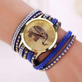 Montre bleue / violette avec un éléphant